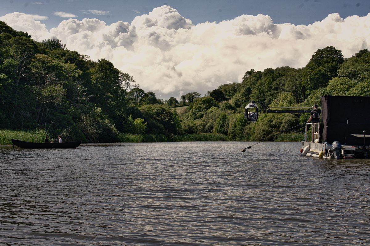 "For this sequence on the water in Death and Nightingales, cinematographer Stephen Murphy explains, ""key grip Ben Moseley used a Scorpio Stabilized Head on a [Grip Factory Munich] GF-8 crane rigged to a mobile pontoon, giving us flexibility to track with the canoes."""