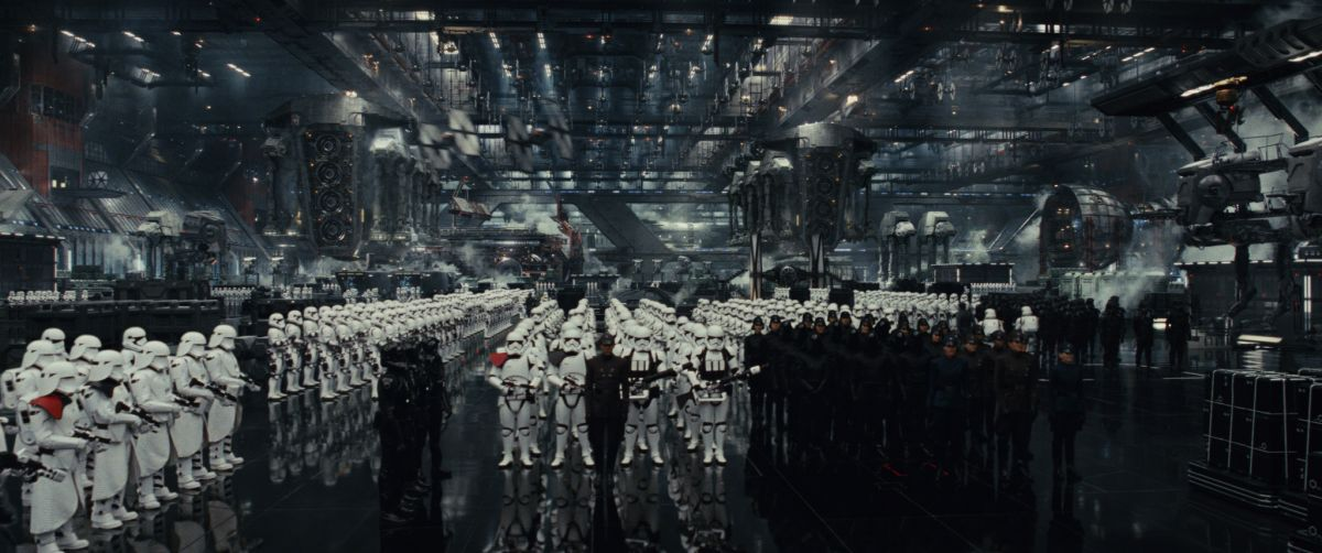 The First Order's forces stand at the ready aboard Supreme Leader Snoke's Star Destroyer.
