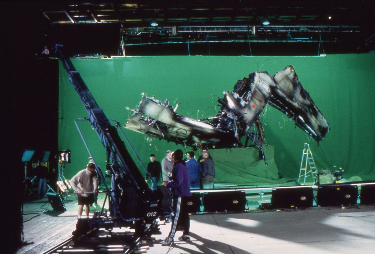 A section of the Lewis & Clark's exploded hull is shot against green-screen on Paramount's Stage E.