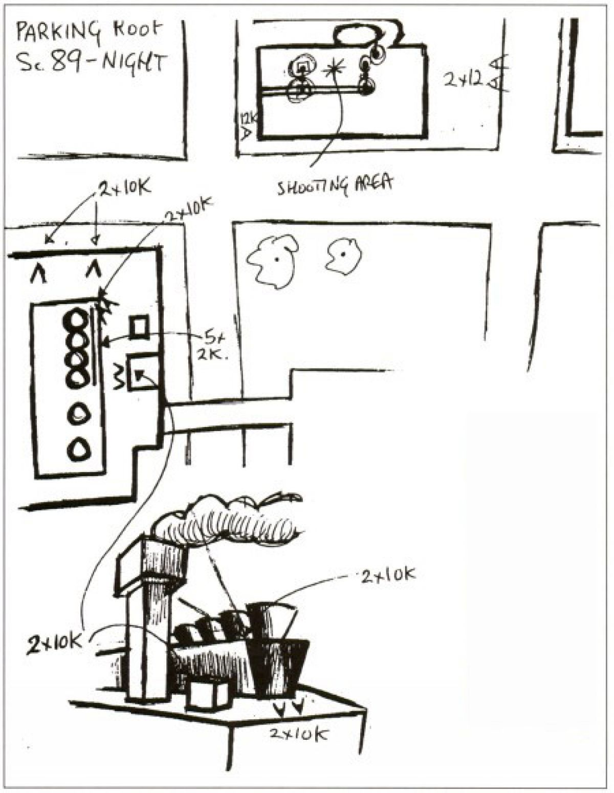 Deakins' sketch of the roof-top parking-garage location (above) and corresponding images from the