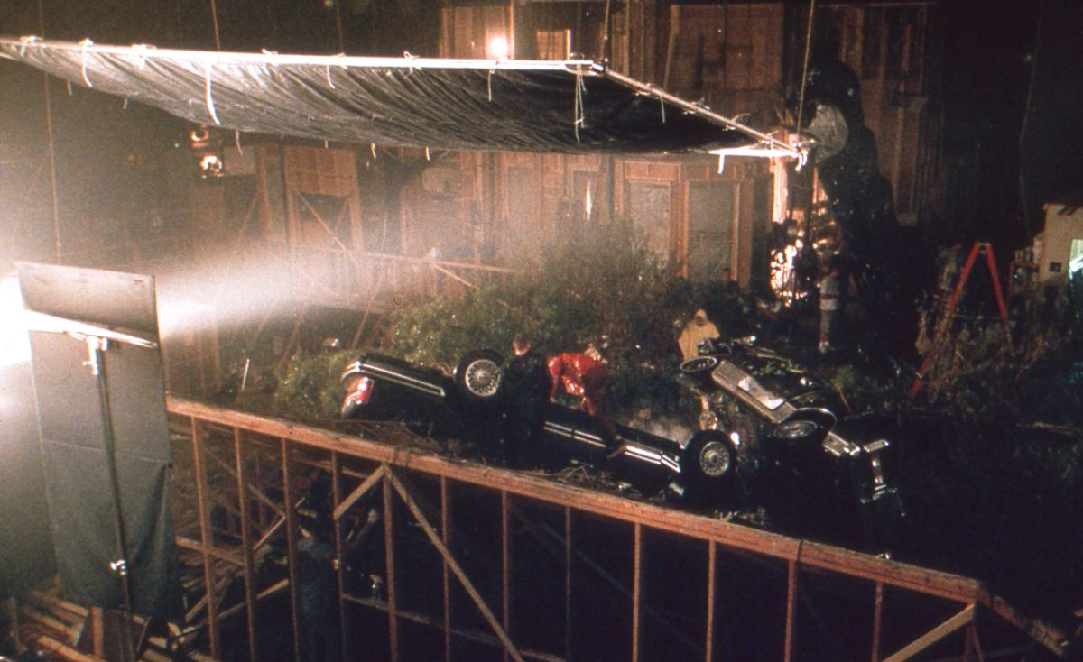 Shooting the aftermath of film's car-crash scene on stage.