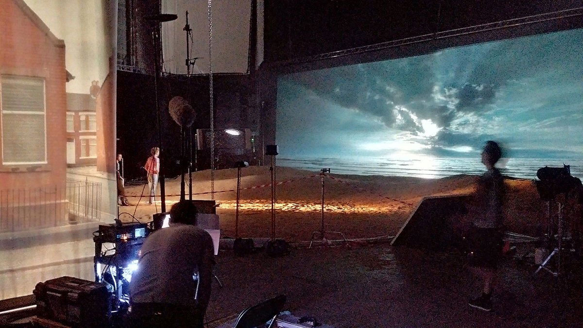 At Pinewood, the immense rear-screen projection setup devised by production effects supervisor Lester Dunton, of Dunton Projection FX​.