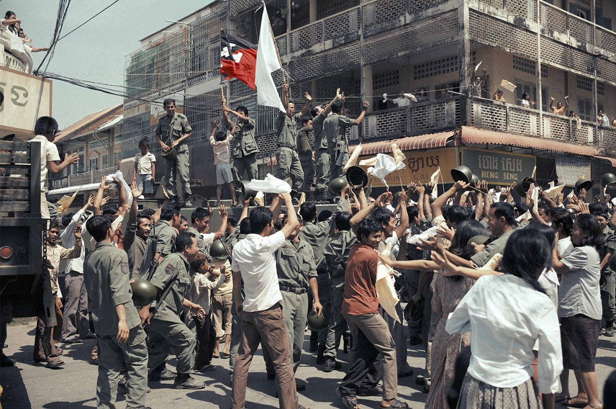The Khmer Rouge flag flies as soldiers take the city. The production shot on location in Cambodia, including the cities of Phnom Penh, Siem Reap and Battambang.