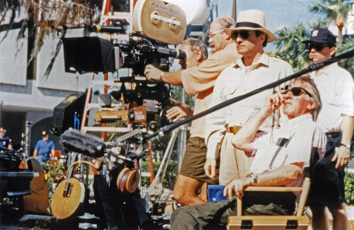 Shooting Cape Fear on location in Florida, Francis examines his light while Scorsese and the crew stand by.