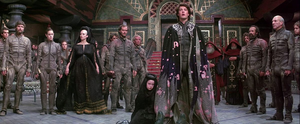 Messianic hero Paul Atreides (Kyle MacLachlan) takes his rightful place as Freman leader Muad'Dib in Dune (1984).