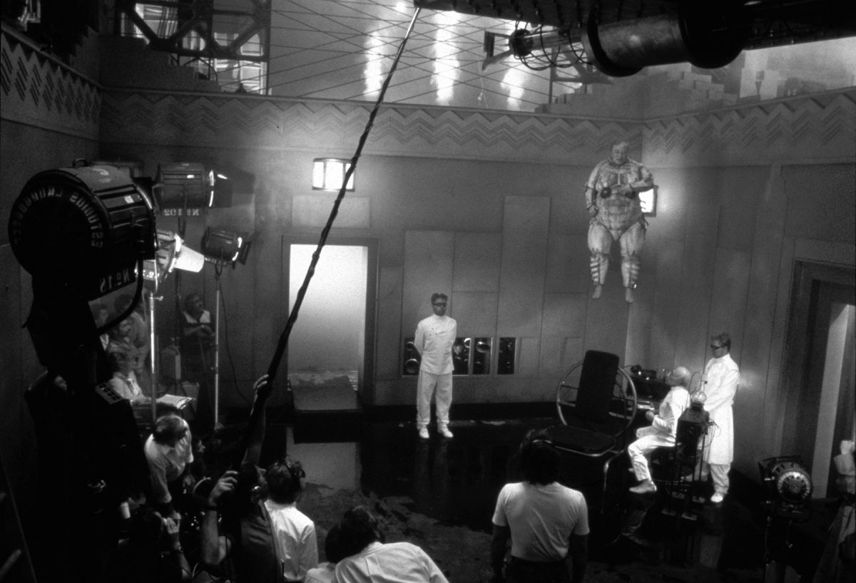 Shooting in this same set, with McMillan lifted aloft via wires.