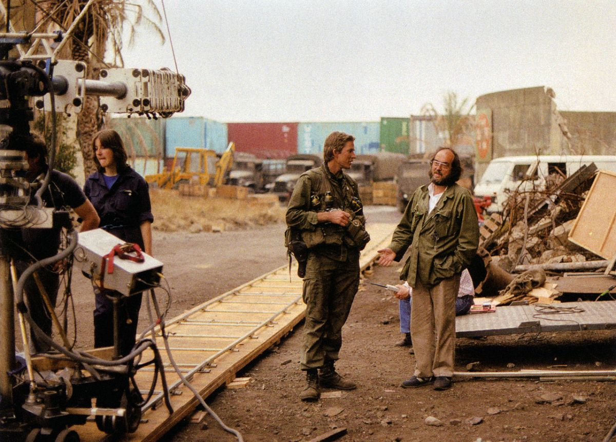 Kubrick confers with Modine as a dolly/crane setup is prepped. The actor's book Full Metal Jacket Diary (2005) is a first-person account of the production, with limited-edition copies now in high demand.