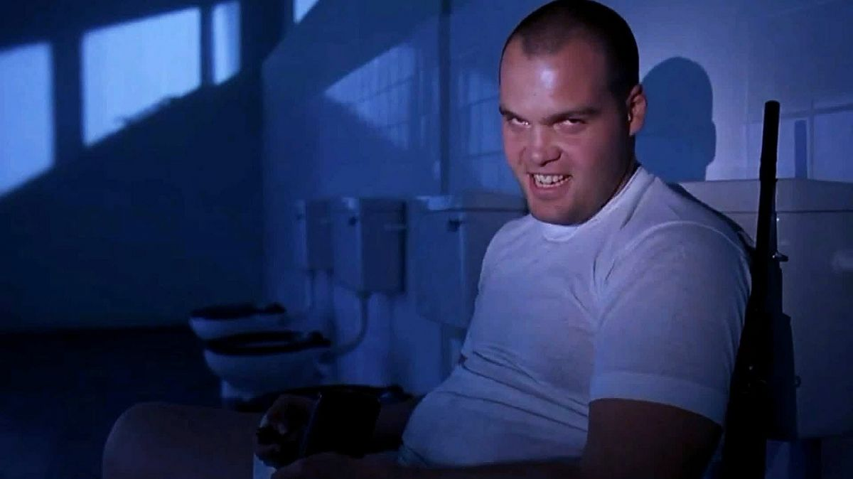 "Discovered in the latrine by Joker after lights out, the deranged Pyle is found methodically loading his rifle with live rounds — ""...7.62mm, full metal jacket."""