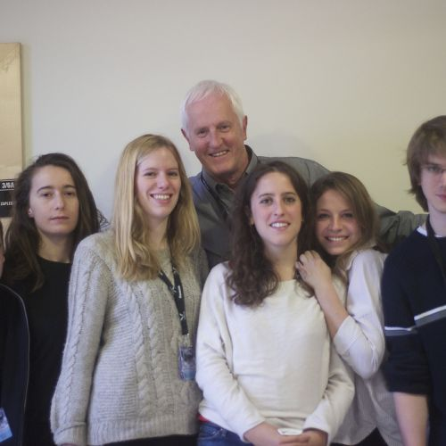 Garrett Brown with French students Maxence, Lucie, Alexandra, Manon, Evgenia, André