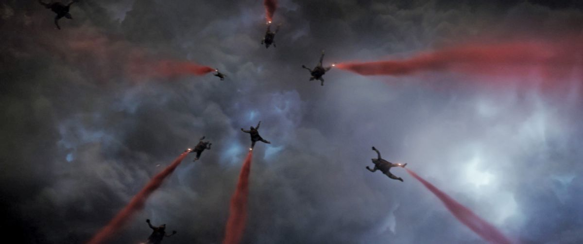 A special-ops HALO team jumps into a besieged San Francisco, with red flares attached to their ankles marking their descent into hell.
