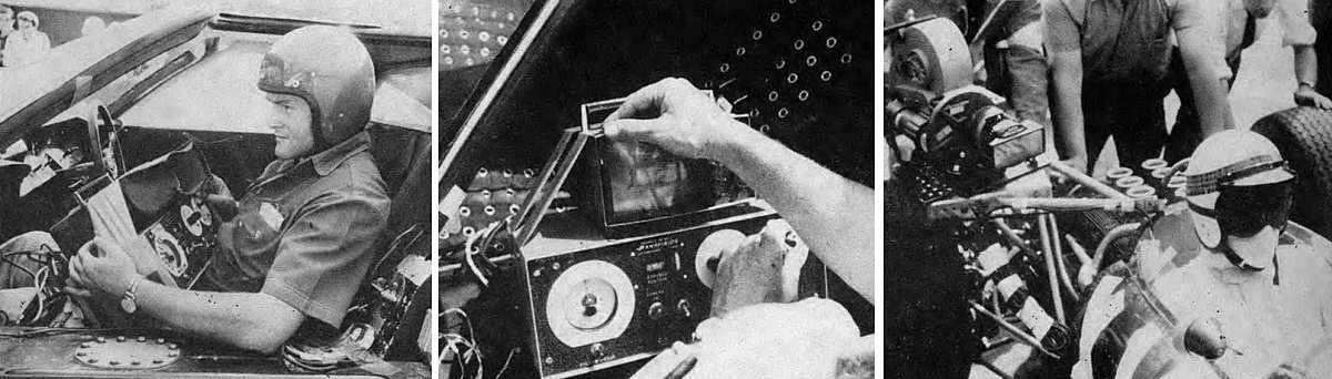 """From left: Sitting in the passenger seat of the Ford GT camera car, the author prepares to operate the electronic control system for cameras. The unit weighs 12 pounds and is strapped around the operator's waist. The monitor has a leather hood to keep the sun off-screen, plus mask to match the field of the lens being used. Controls, reading from left, are: follow-focus, footage counter, on-off camera switch and """"joystick"""" pan-tilt control. At right is a camera mounted with a 27mm lens for an over-shoulder shot of race driver Bob Bondurant as he doubles for actor Brian Bedford."""