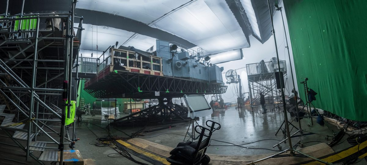 Production designer David Crank and crew built the gimbal-mounted pilothouse and deck of Krause's vessel, the USS Keeling.