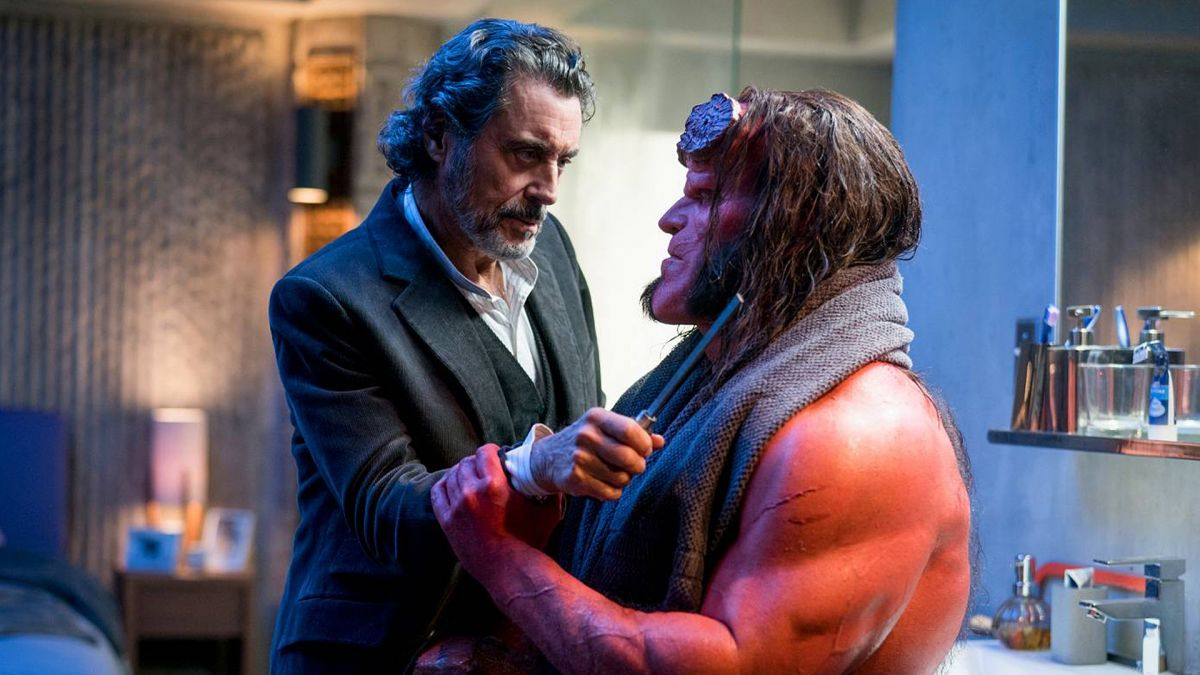 Hellboy and his adoptive father, Trevor Bruttenholm​​​ (Ian McShane).