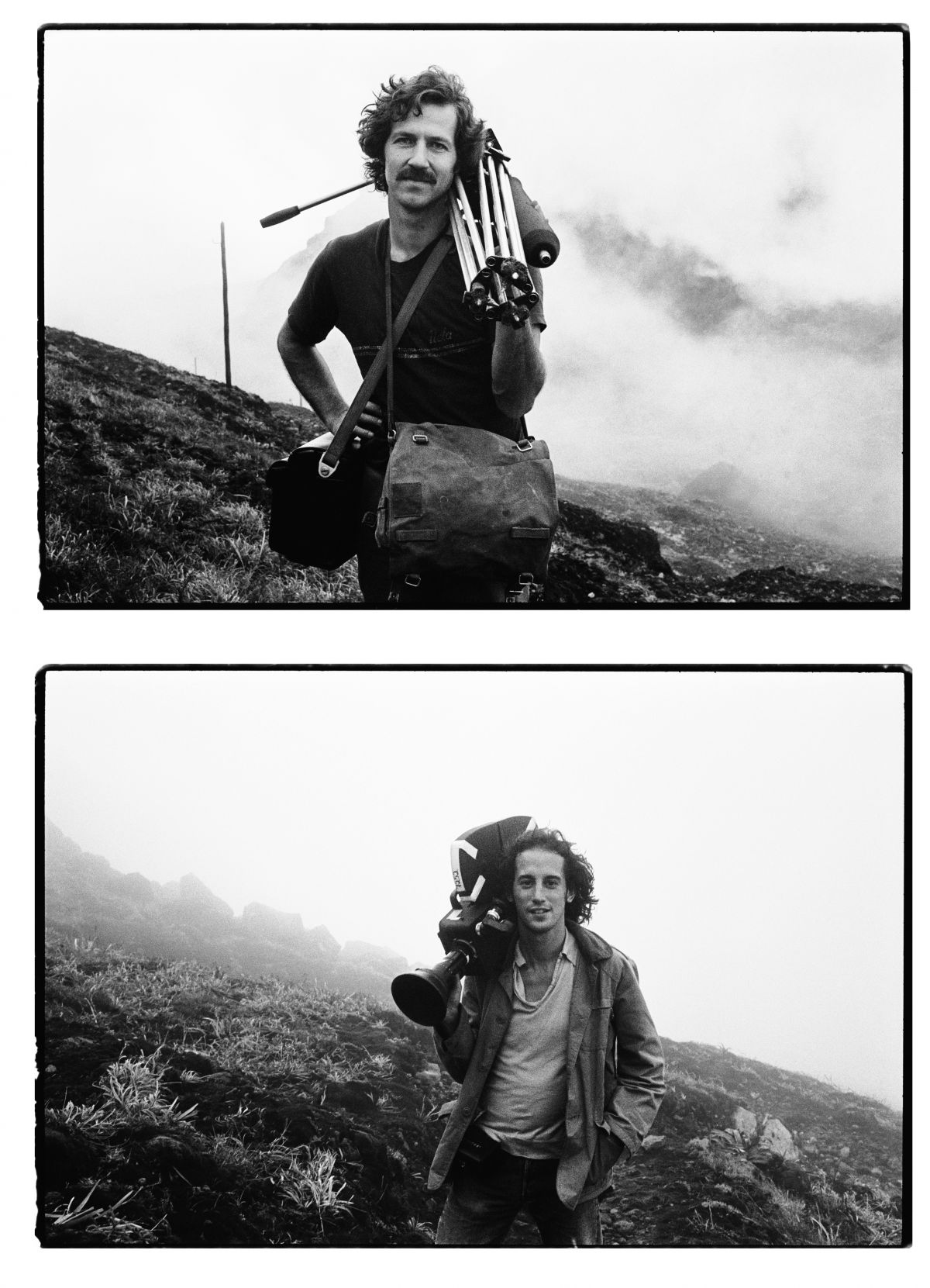 Herzog (with a Nagra recorder and sticks) prepares to climb an active volcano that is threatening to erupt. He's there to shoot footage for his documentary La Soufrière — Waiting for an Inevitable Disaster (1976) on the island of Guadeloupe, along with his trusting cinematographer, Edward Lachman, ASC.
