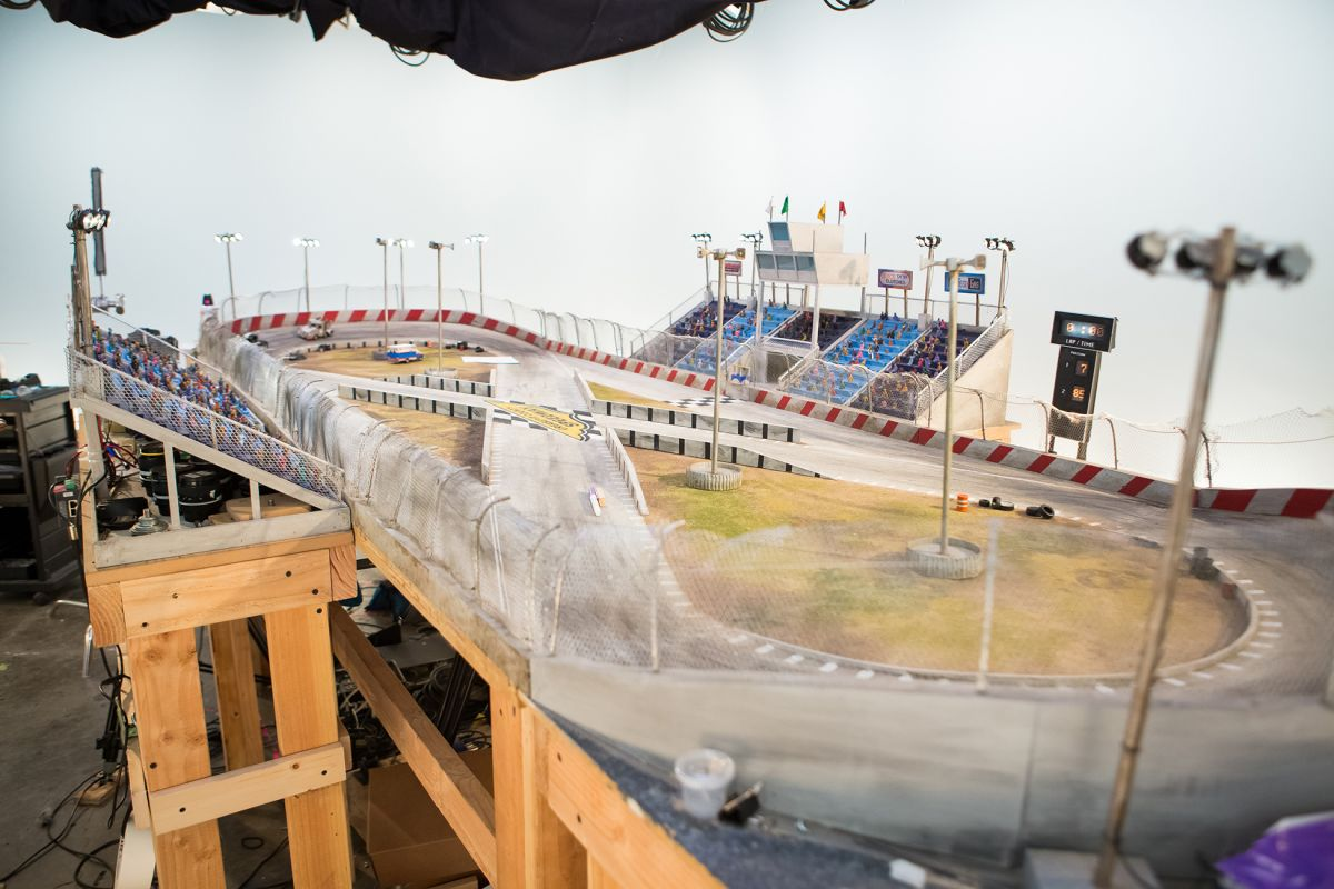 The 6'x12' figure-eight mini-speedway was the largest and most challenging set to prepare for the production.