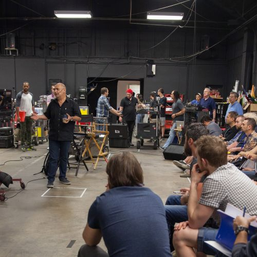 Instructor Gabriel Beristain, ASC, BSC, begins his seminar at Mole-Richardson Co.