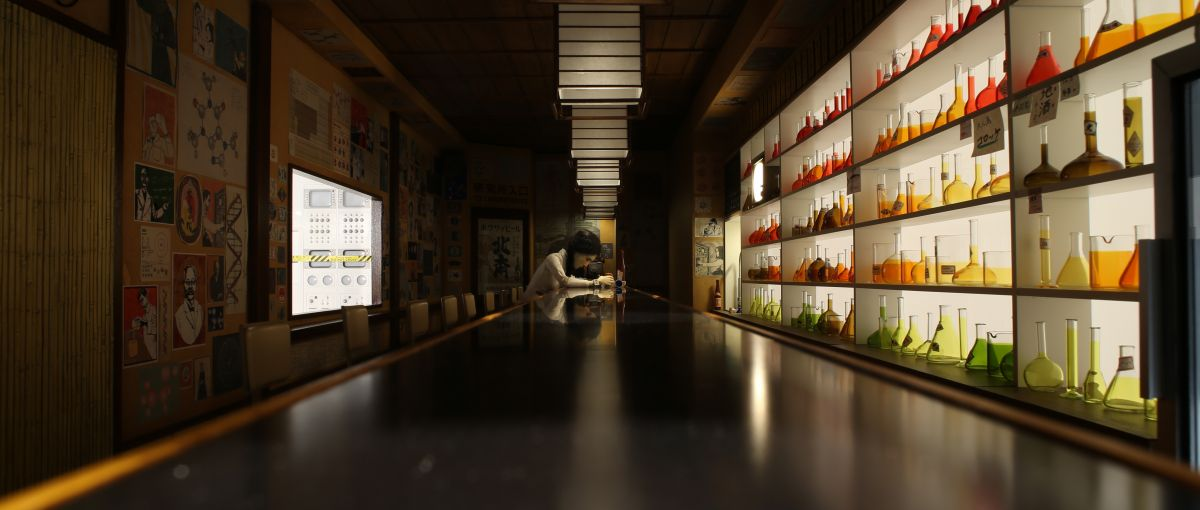The character Yoko Ono (voiced by Yoko Ono) is introduced in a sake bar.