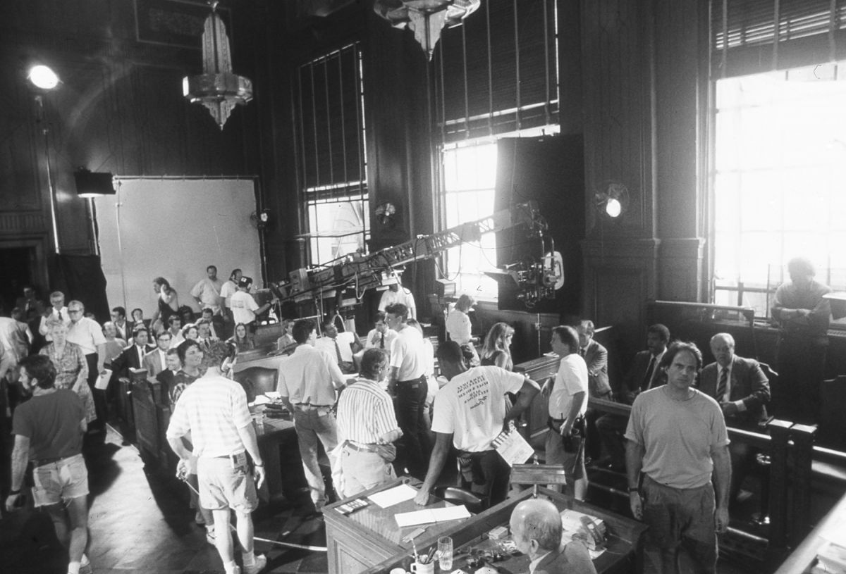 Setting up for the key courtroom scene in JFK, during which the case is made that a vast conspiracy was behind Kennedy's assassination.