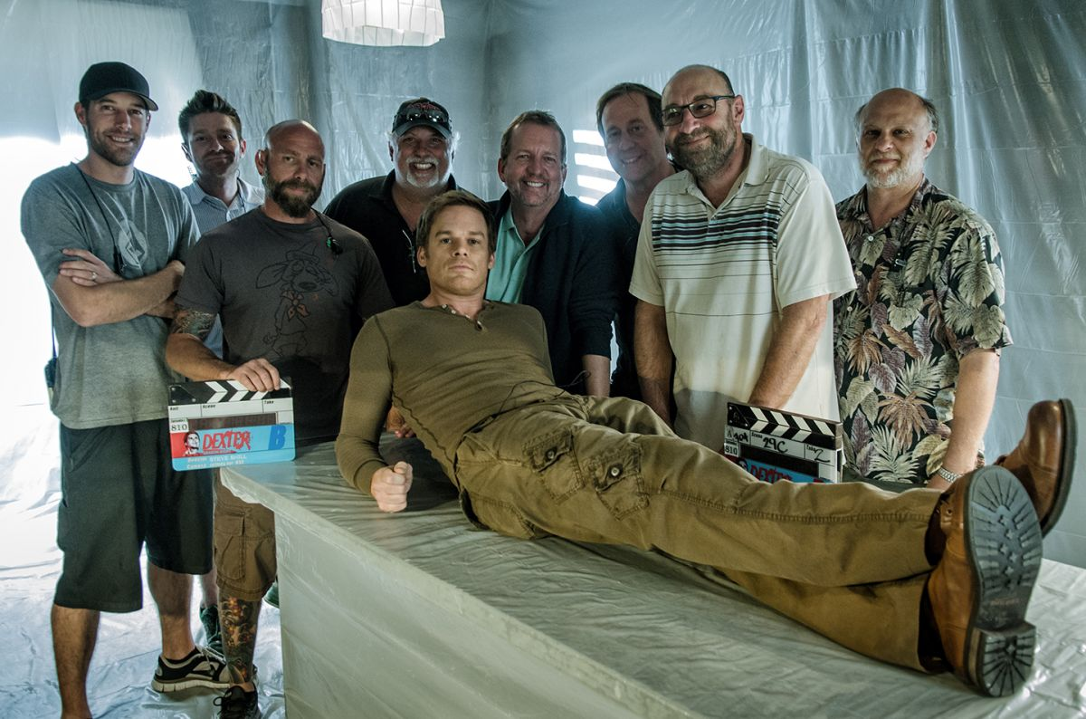 Jur (here with crew and actor Michael C. Hall) was behind the camera for the final two seasons (2012 and '13) of the Showtime serial-killer series Dexter.