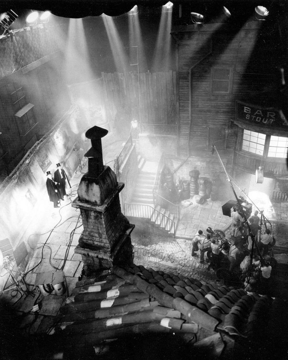 Shooting on one of the elaborate Victorian London street sets.