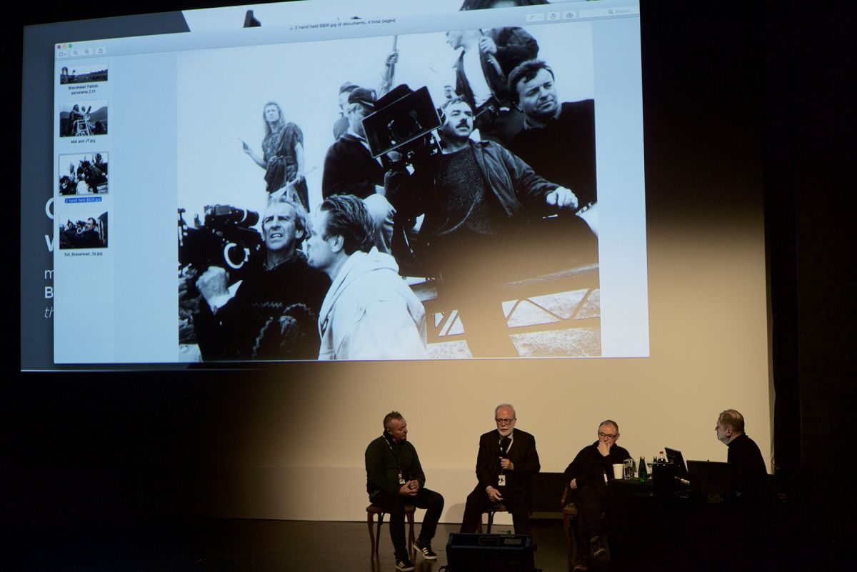Toll (second from right) and his compatriots during the Panavision discussion moderated by AC contributor Benjamin B. (Photo by Danna Kinsky)