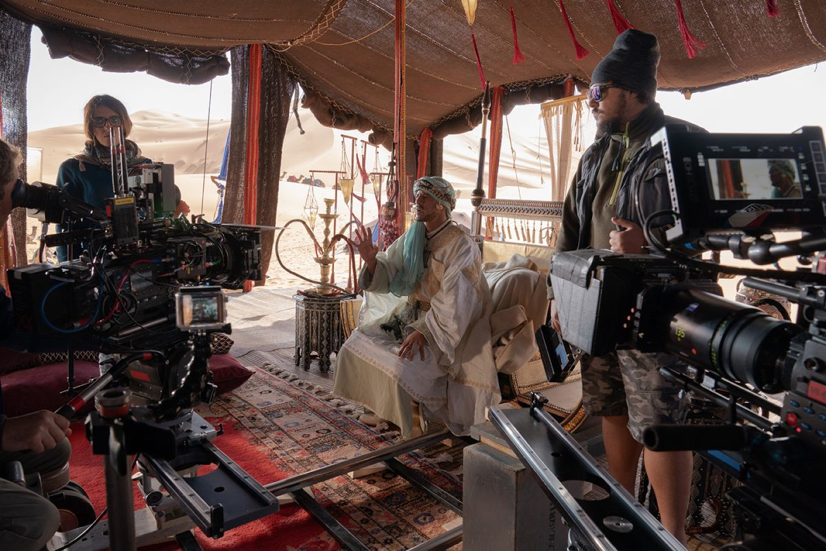 Two cameras frame-up on Saïd Taghmaoui (as the Elder) in an open-sided tent built on location in Morocco. (Photo by Mark Rogers.)