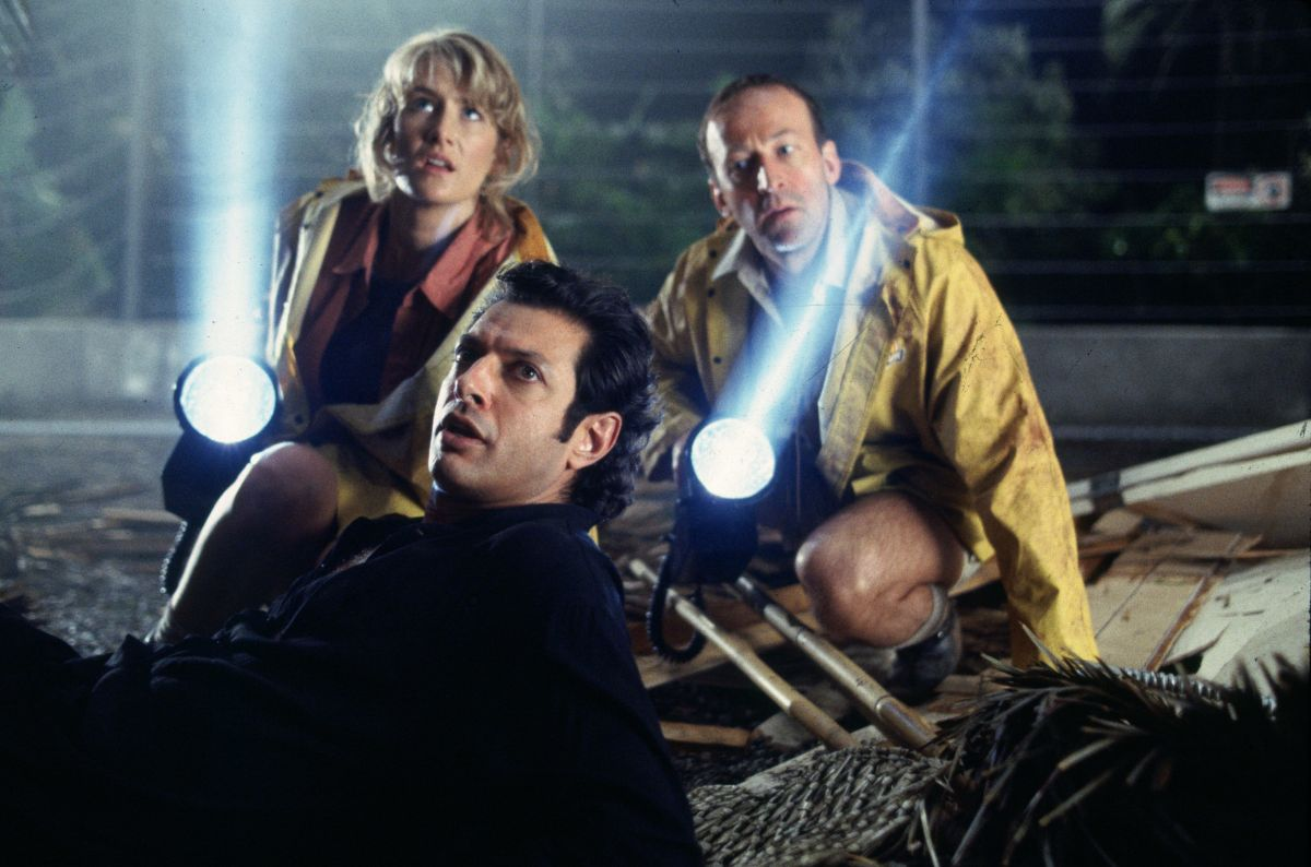 Ellie (Laura Dern), Malcolm (Jeff Goldblum) and Muldoon (Bob Peck) just before the big T-rex chase.