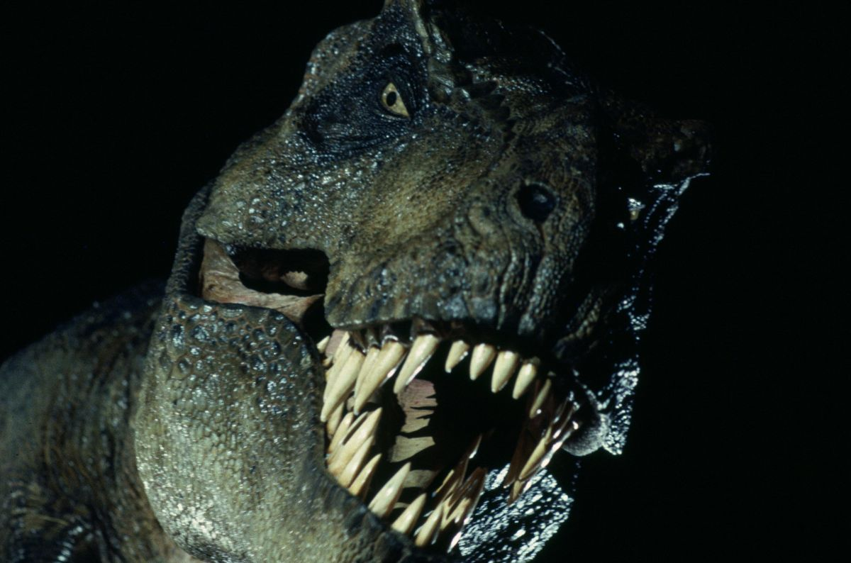 The true star of the film, a 40-foot-long, 9,000-pound animatronic Tyrannosaurus rex.