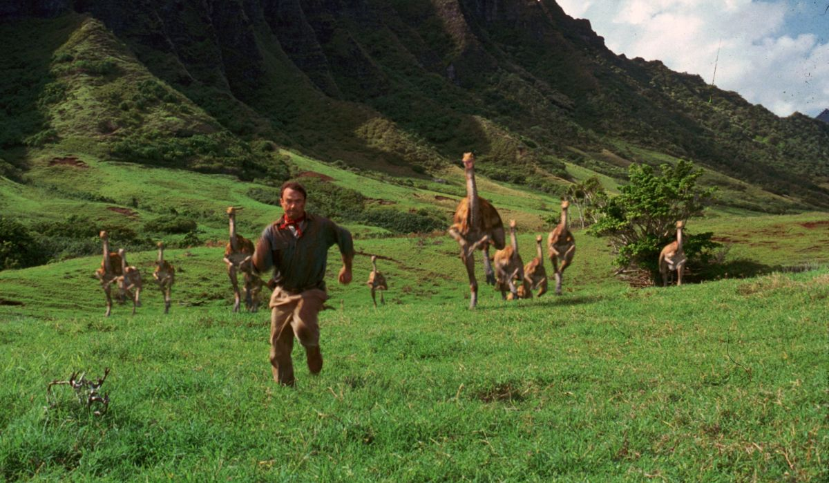 ILM's animated ostrich-like herd of gallimimus dinosaurs, designed at Stan Winston Studios.