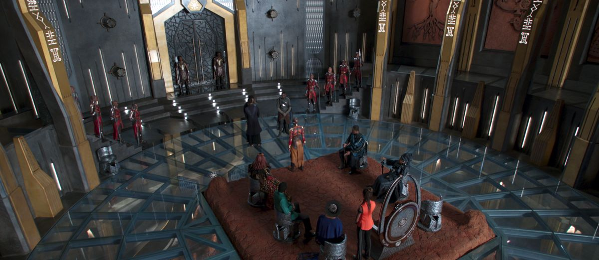 The Wakandan High Council chamber.