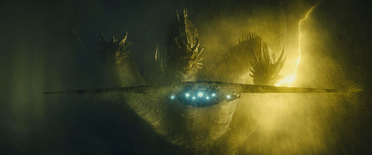 "King Ghidorah stares down the Argo, a super-sized stealth bomber. Several vendors collaborated on the design of the creatures, who are supposed to measure as high as 400' tall. Among the vendors was special-effects house Amalgamated Dynamics Inc. — headed by Alec Gillis and Tom Woodruff Jr. — whose artists designed Rodan in clay, which thrilled Dougherty. ""Their first stab was a beautiful, huge, sculpted Rodan maquette that took me back to being a kid reading Cinefex and Fangoria and seeing pictures of designers poring over beautiful clay sculpts,"" the director says. While the monsters that appear onscreen are entirely digital creations, their movements benefited from motion-capture references that lent an organic quality based on actual real-world physics."