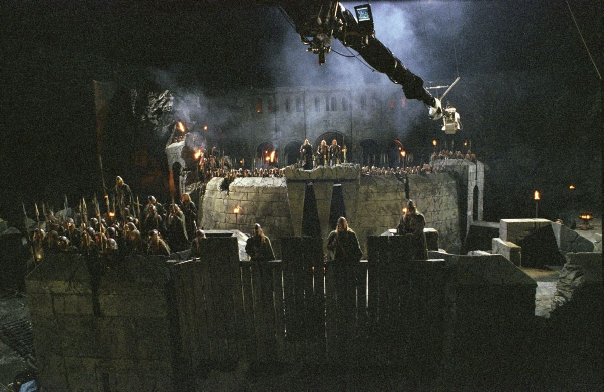 The crew uses a crane-mounted camera to capture the action atop the stone walls of the Hornburg Fortress, where the Battle at Helm's Deep will be waged.