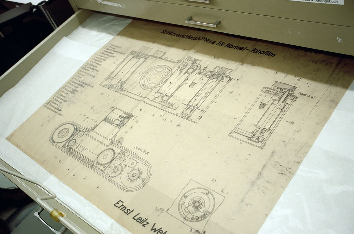 Paydirt: One item seen on the tour was this vintage drawing of first Leica camera. (Photo by James Hills)