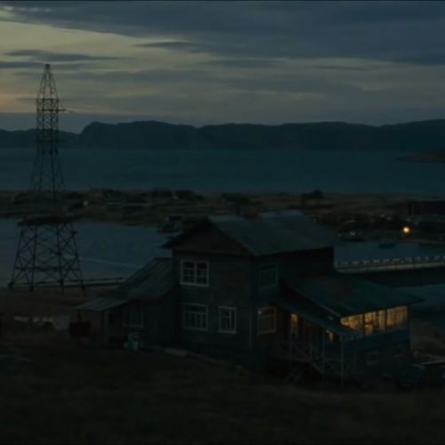 Leviathan - dusk exterior of house and bay