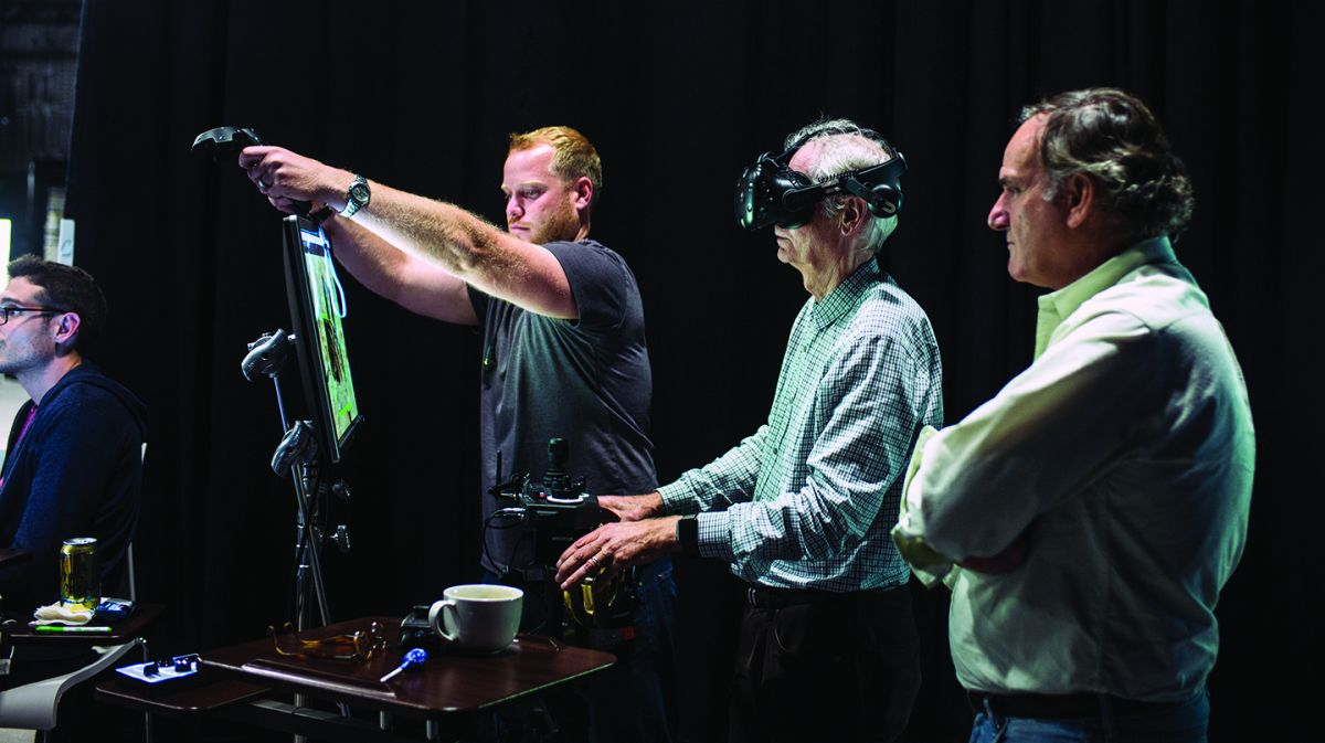 Legato, Deschanel and Magnopus virtual-production producer A.J. Sciutto observe the action. Legato notes that VR goggles and controllers enabled the filmmakers to explore the virtual set — in order, for example, to find proper camera angles, or to determine and virtually mark such elements as the appropriate positioning for dolly track — but when it came time to execute the shot, most of the camera crew removed the goggles and used the real-world monitors.