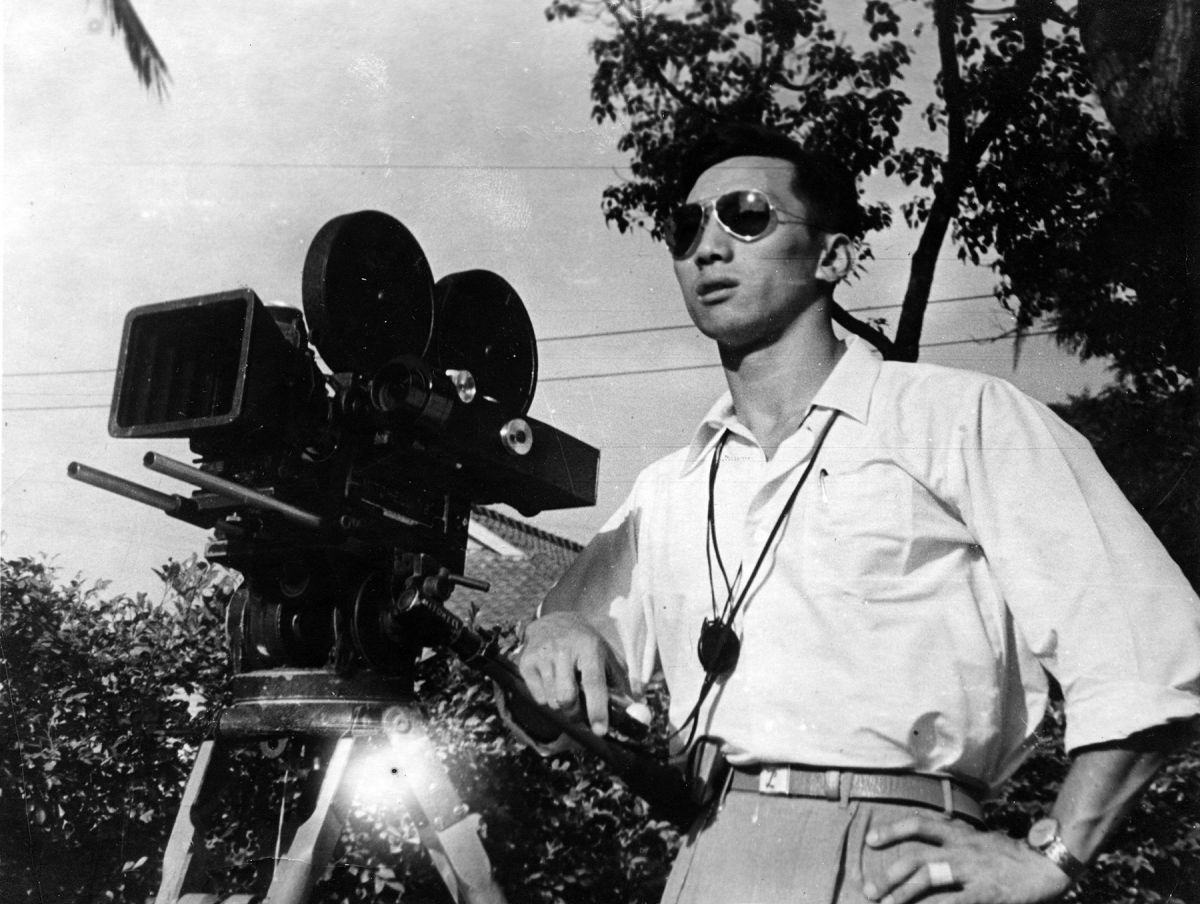 Liu poses on the set of his first feature as director of photography for the Central Motion Picture Corp., in 1962.