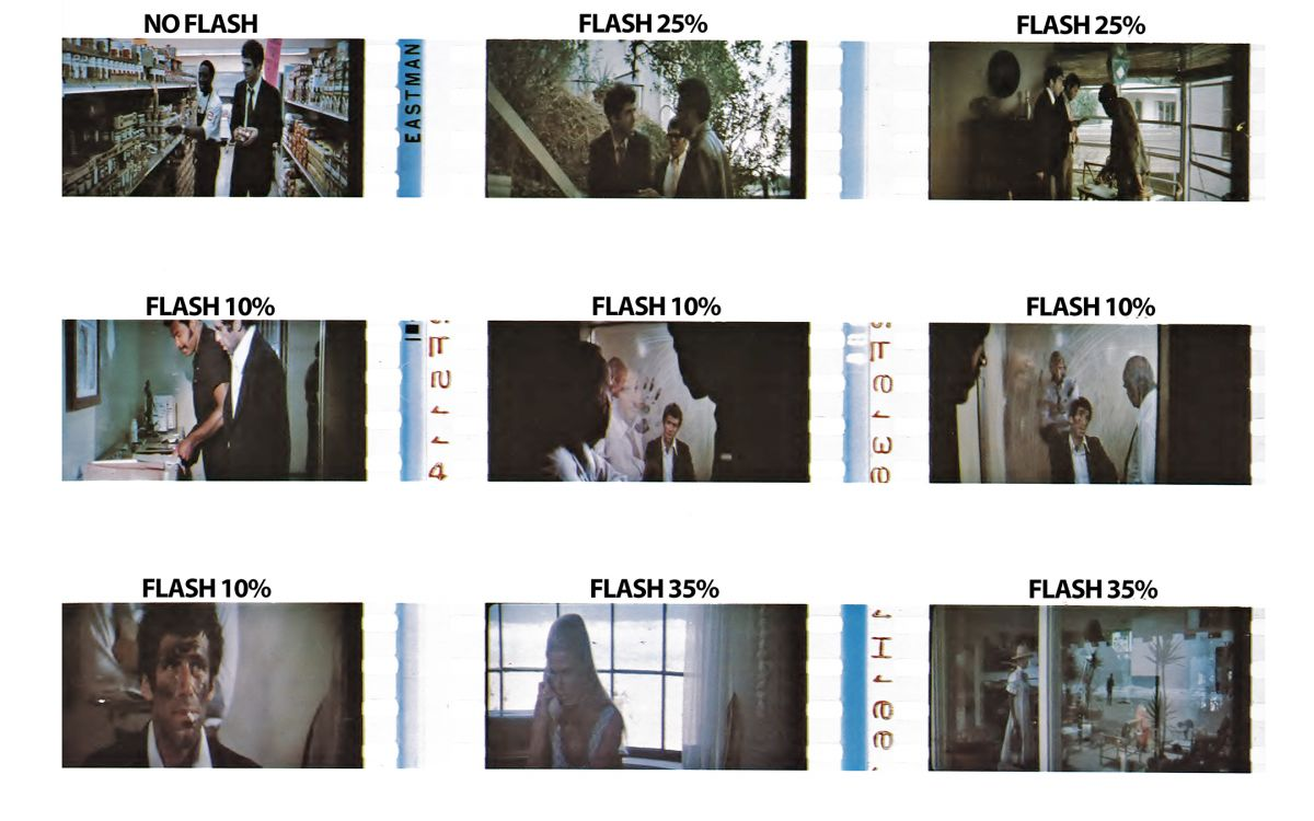 Frames from an anamorphic release print noting the amount of flashing that was done on various scenes. Note that the images have been de-squeezed for the sake of clarity.