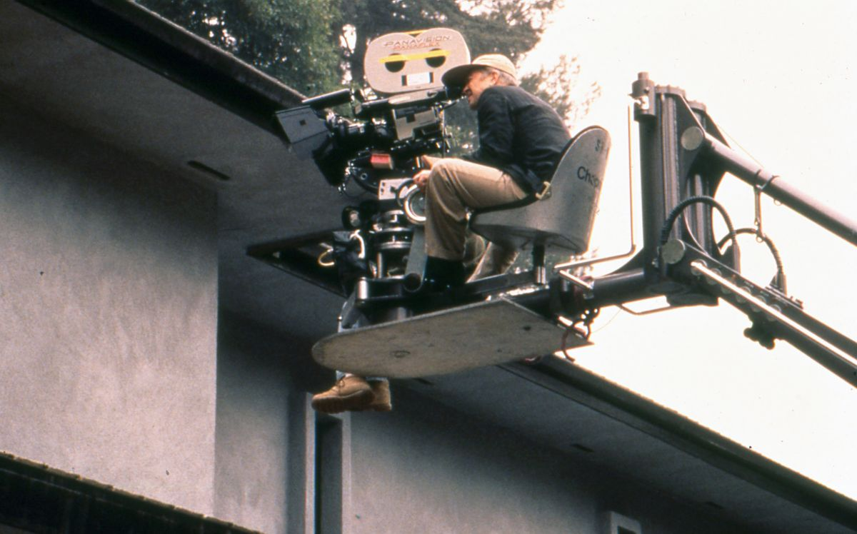 Lynch takes a turn at the eyepiece while planning a crane shot.
