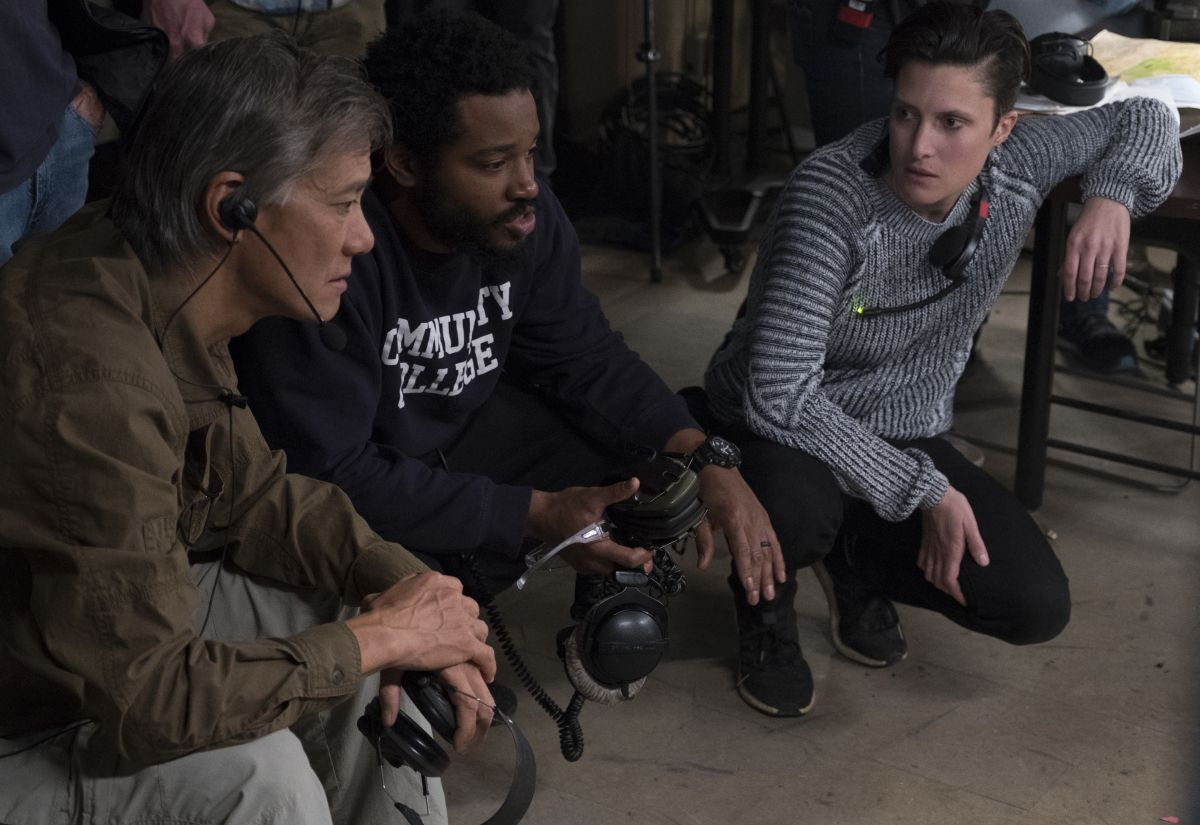 Camera operator P. Scott Sakamoto, director Ryan Coogler, and cinematographer Rachel Morrison, ASC discuss a scene.