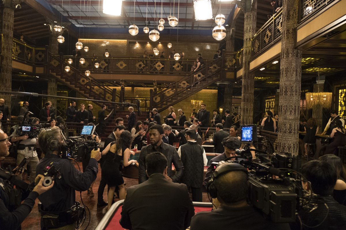 Shooting on the two-level underground Korean casino set, built within Stage 7 at Screen Gems.
