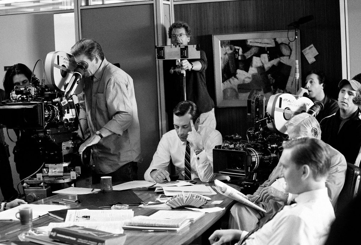 Shooting an episode of Mad Men, filmed at the Los Angeles Center Studios. Making its debut in 2007, the drama brought aboard a series of talented cinematographers over seven seasons, including ASC members Phil Abraham (who would also direct 15 episodes), Chris Manley, Frank G. DeMarco, Steve Mason, Bill Roe, Jeffrey Jur and M. David Mullen.