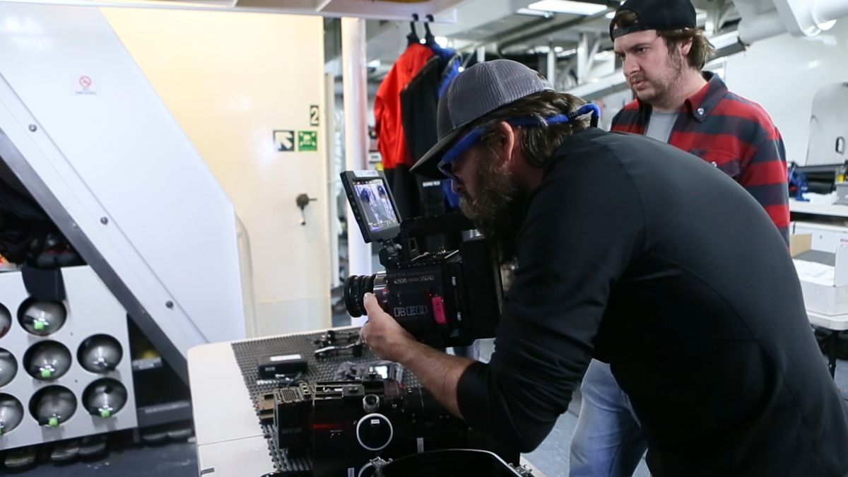 Dalio (right) with OceanX Media cinematographer Ivan Agerton framing a shot with the Red Dragon DSMC1.