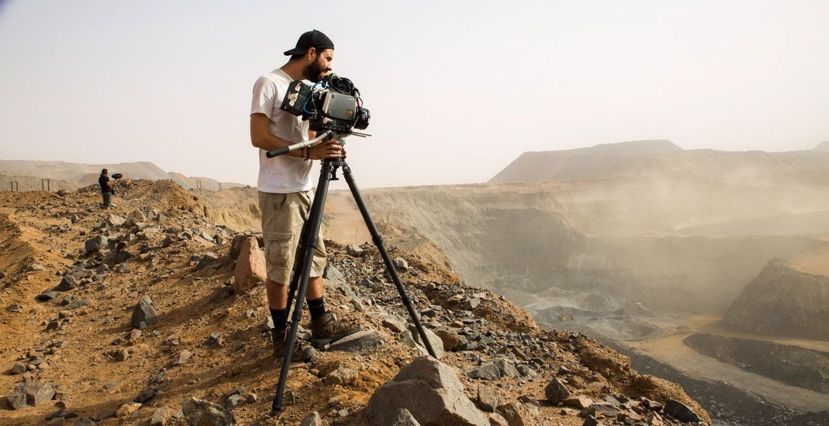 MacGregor lines up a panoramic shot of the iron ore mine with his Sony CineAlta F35.