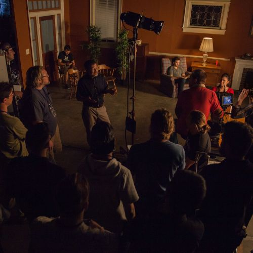 Instructor M. David Mullen, ASC, discusses a lighting setup.