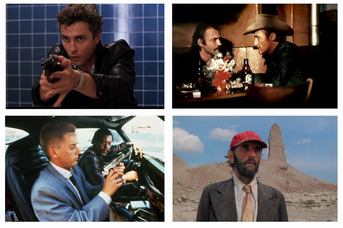 Images of America: (cockwise from top left) Müller's work in To Live and Die in L.A.; The American Friend; Paris Texas; and Repo Man.