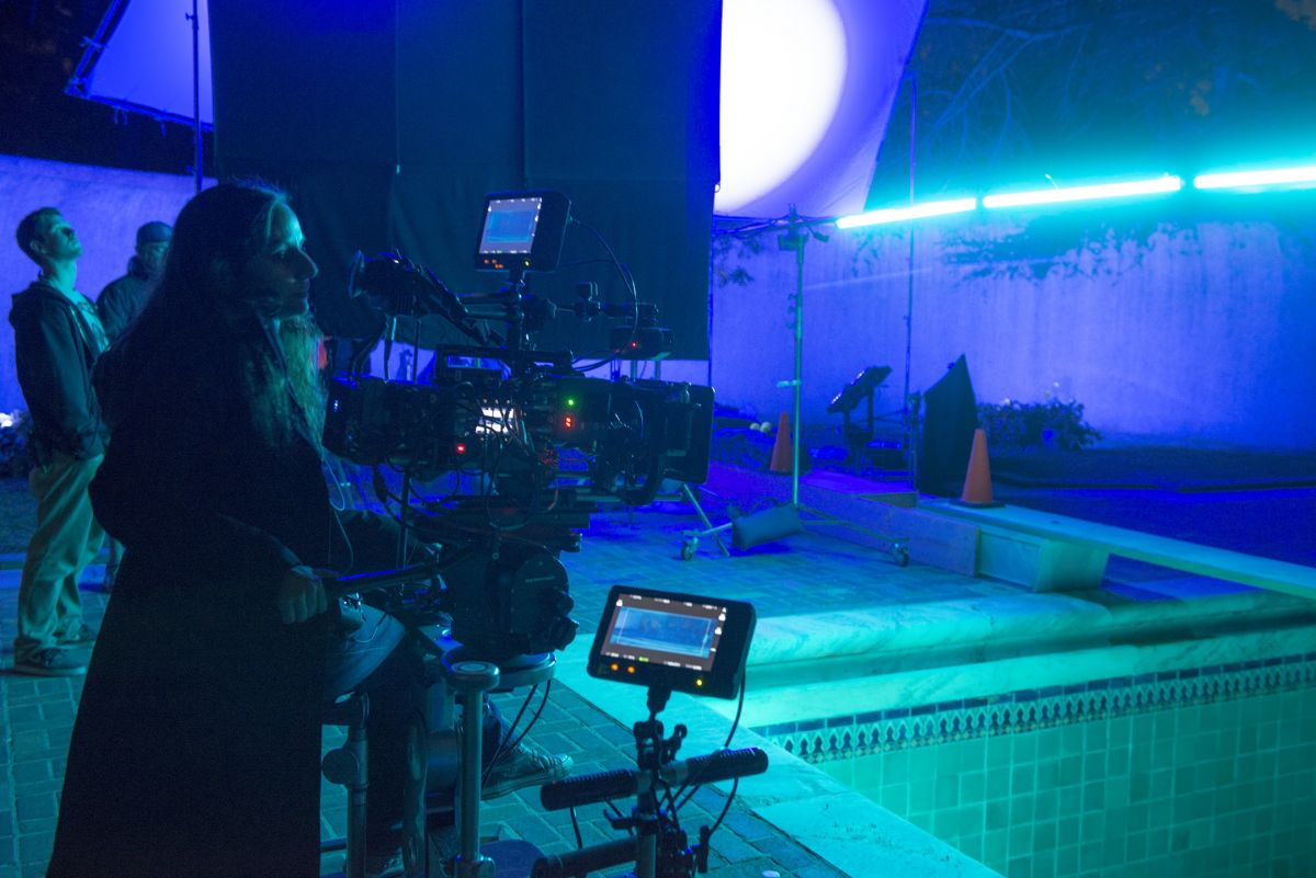 Braier oversees the pool sequence lighting setup.