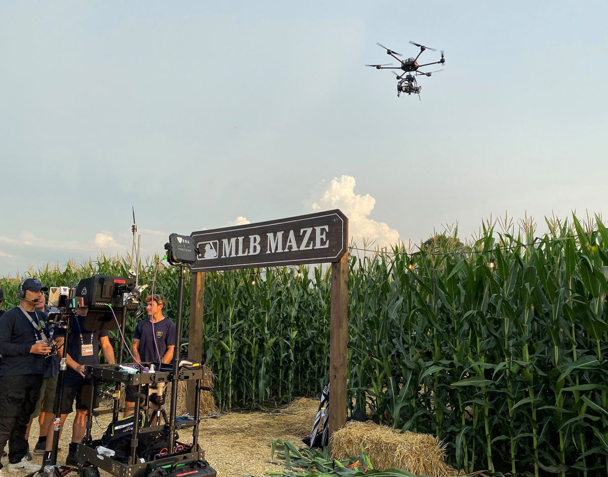 """The Fox Sports team preps to shoot the """"Field of Dreams"""" game in Iowa."""