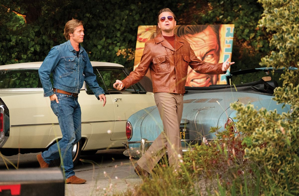 Fading star Rick Dalton (Leonardo DiCaprio, right) and his stunt double and friend, Cliff Booth (Brad Pitt), navigate the changing motion-picture business in the 1969-set Once Upon a Time… in Hollywood.