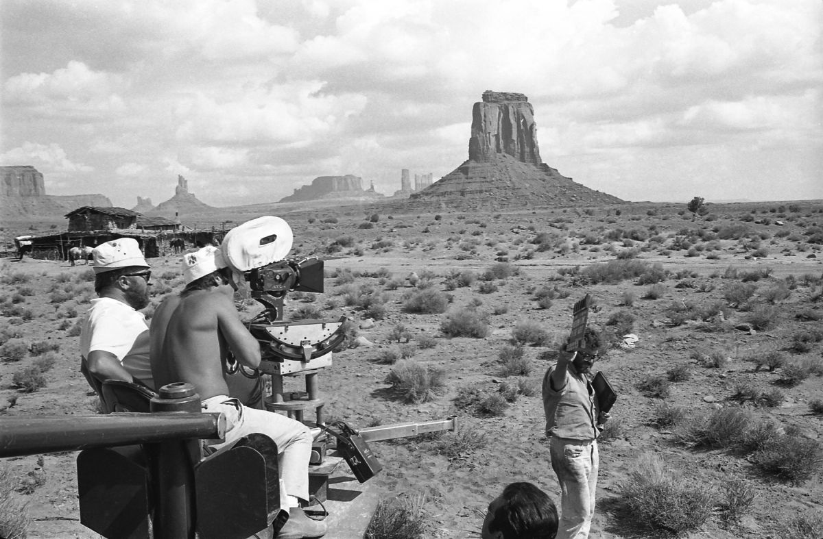 Shooting in iconic Monument Valley, made famous by the numerous Hollywood westerns to be staged there, including director John Ford's Stagecoach (1939; shot by Bert Glennon, ASC), My Darling Clementine (1946; Joe MacDonald, ASC) and The Searchers (1956; Winton C. Hoch, ASC). (Photo courtesy of Reel Art Press.)