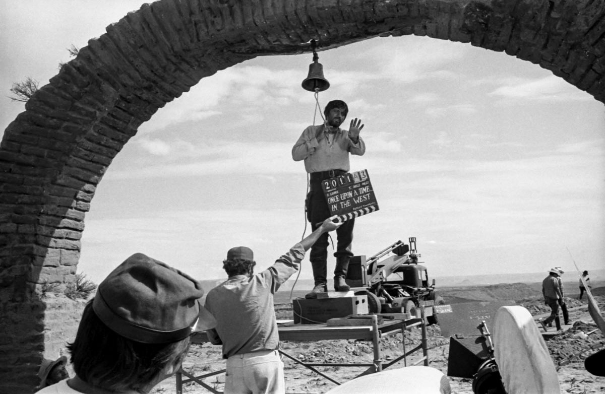 Production manager Claudio Mancini played Harmonica's elder brother, here filming the flashback in early August of 1968, somewhere between Monument Valley and the town of Mexican Hat. (Photo courtesy of Reel Art Press.)
